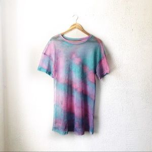Tops - Oversized Multicolor Tie Dye Fishnet T-Shirt Dress